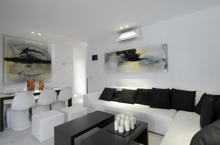 idee-peinture-salon-blanche-amenagement-en-noir-et-blanc-jolis-tableaux-d-art-moderne