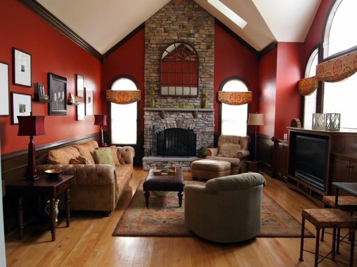 idee-peinture-salon-rouge-magnifique-cheminee-en-pierre-look-sophistique-opulent