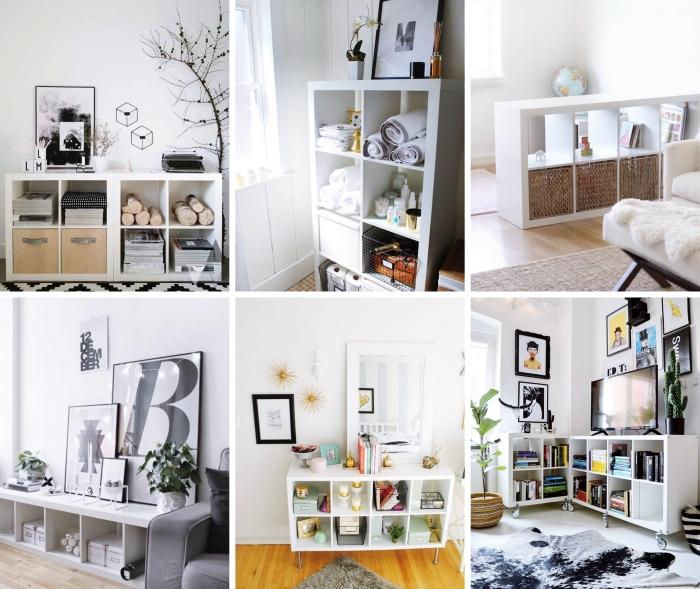 ikea decor hacks étagère kallax design salon minimaliste meuble rangement tv tapis scandinave blanc et noir