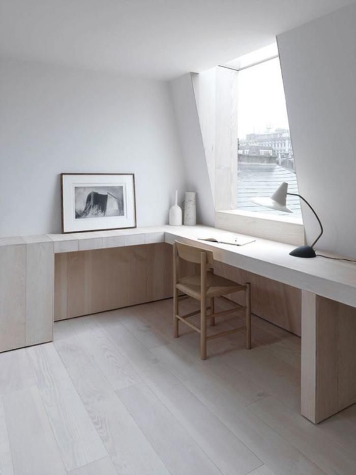 Bureau Design Bois Clair : meuble-bureau-design-joli-bureau-dangle-bois-clair