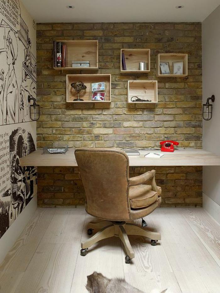 meuble-bureau-design-mur-briques-et-chaise-de-bureau