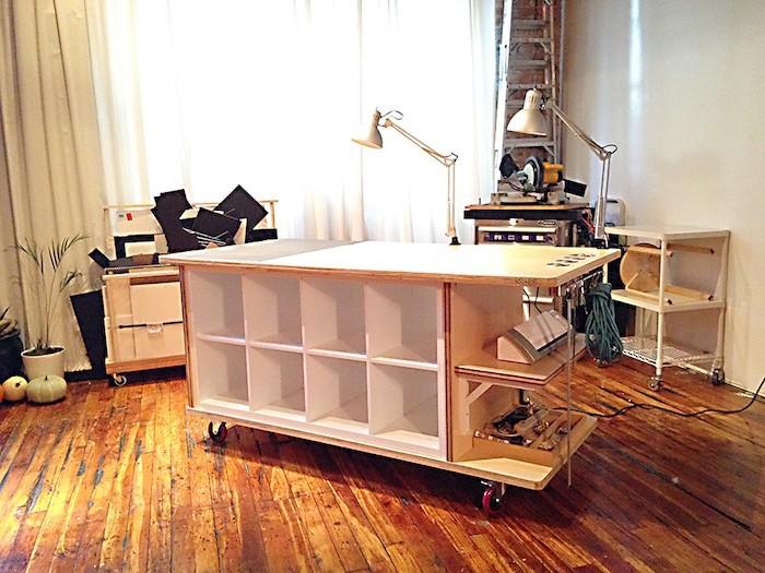 meuble-casier-a-roulettes-avec-etagere-kallax-ikea