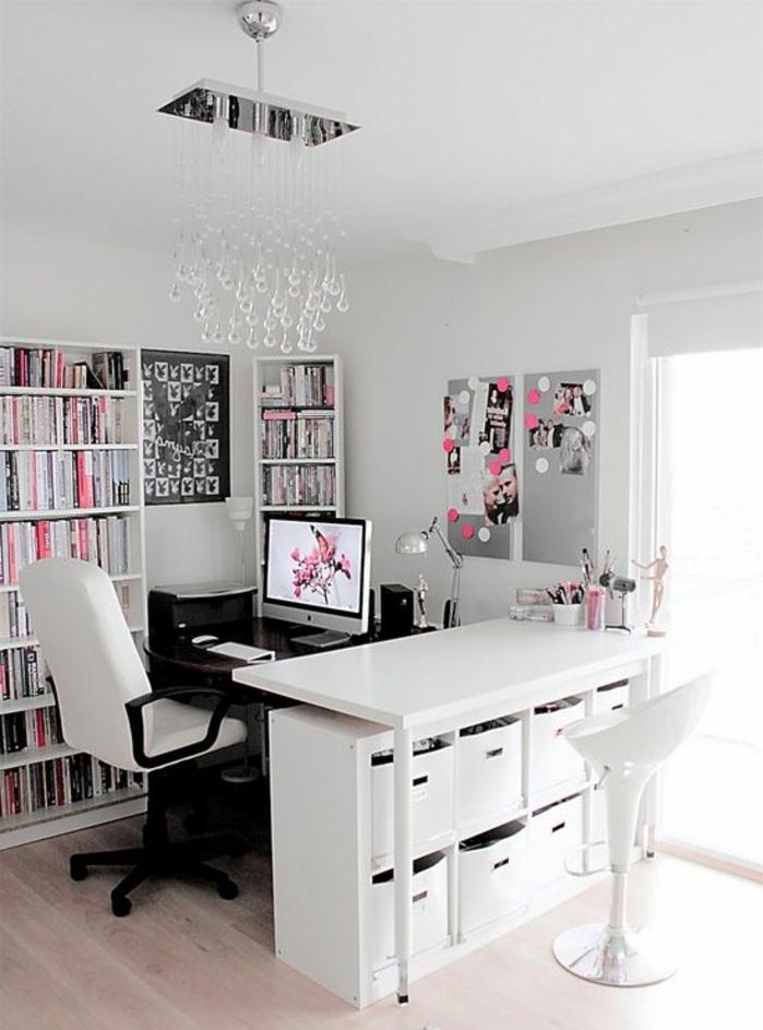 meuble-informatique-blanc-bureau-fille-femme-rose-photos