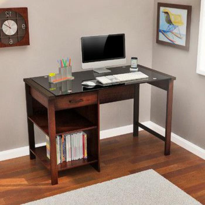meuble-informatique-creme-mur-marron-bois