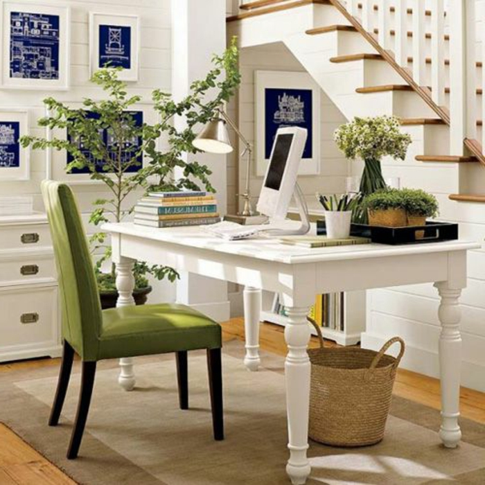 meuble-informatique-maison-vert-chaise-table-blanche