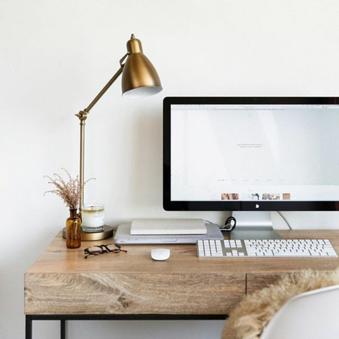 meuble informatique ordinateur lampe dore bois