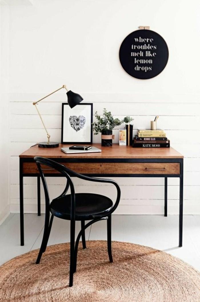 meuble-informatique-ronde-noir-chaise-table-bois