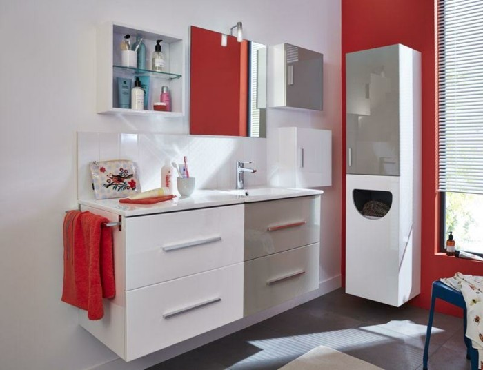 meuble rouge et blanc conceptions de maison. Black Bedroom Furniture Sets. Home Design Ideas