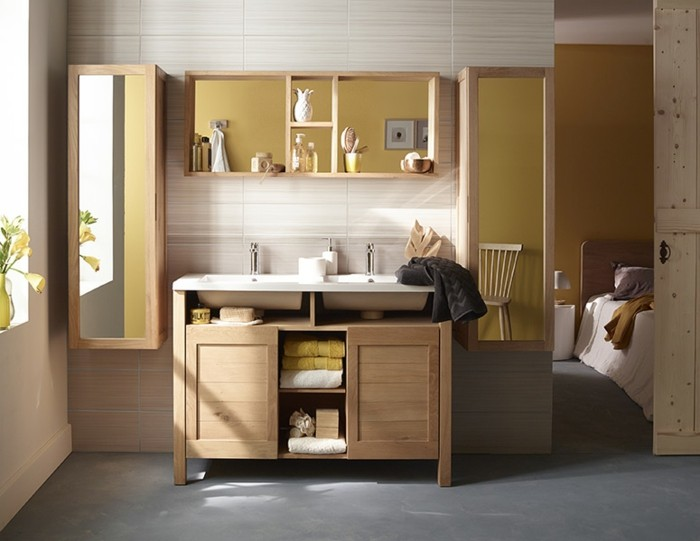 salle de bain zen jouez la carte du meuble en bois. Black Bedroom Furniture Sets. Home Design Ideas