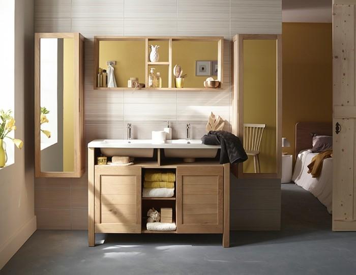 Salle de bain zen jouez la carte du meuble en bois for Meuble salle a manger bois clair