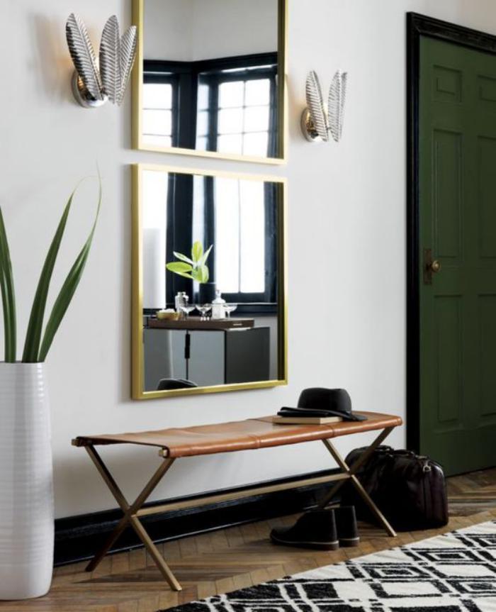miroir-d-entree-deux-miroirs-suspendus-banquette-tissu-et-metal