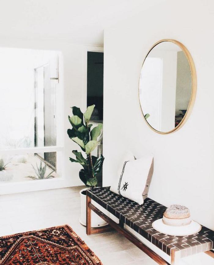 miroir-d-entree-rond-et-banquette-appartement-scandinave