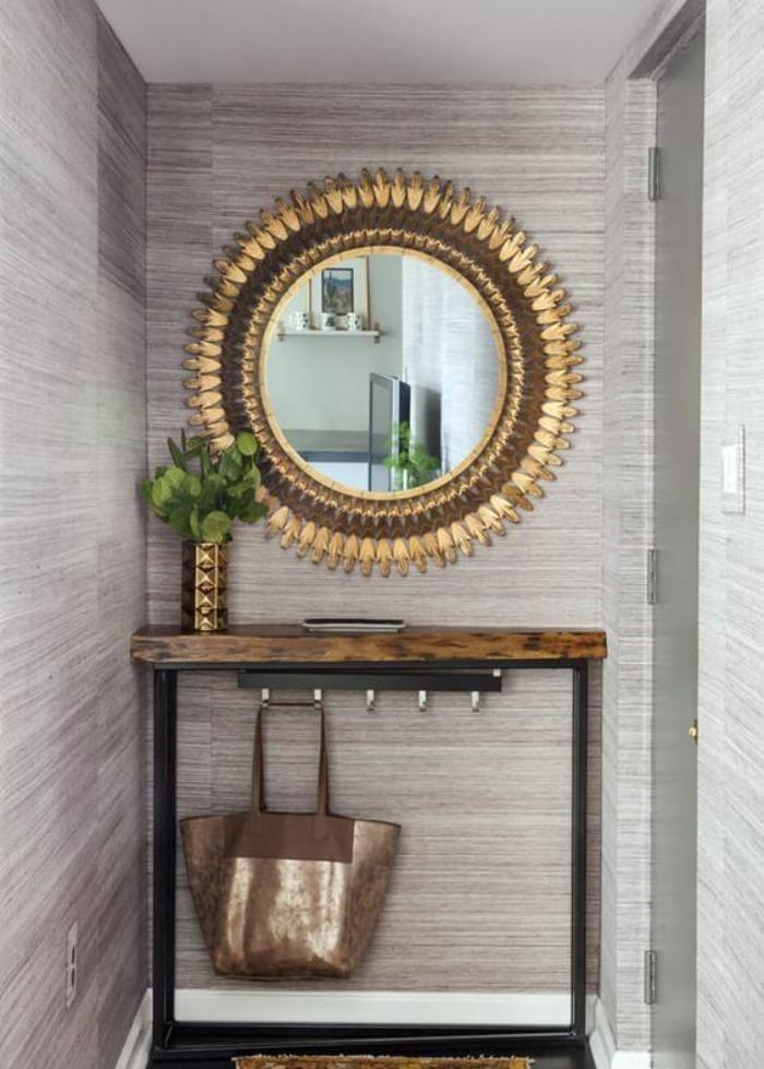 miroir-d-entree-soleil-avec-console-bois-et-metal