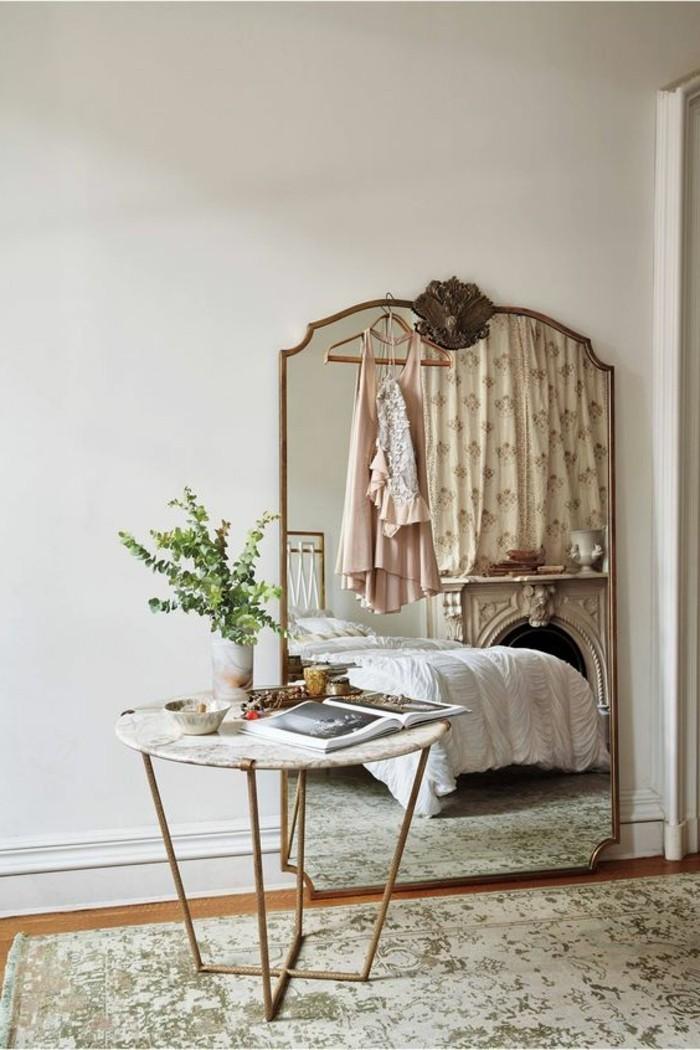 miroir-grand-format-chambre-a-coucher-simple-moderne-vert-fleur