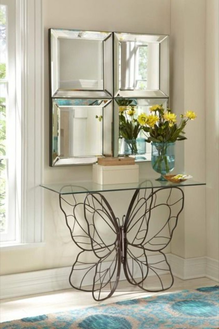 miroir-grand-format-jaune-fleur-mur-papillon