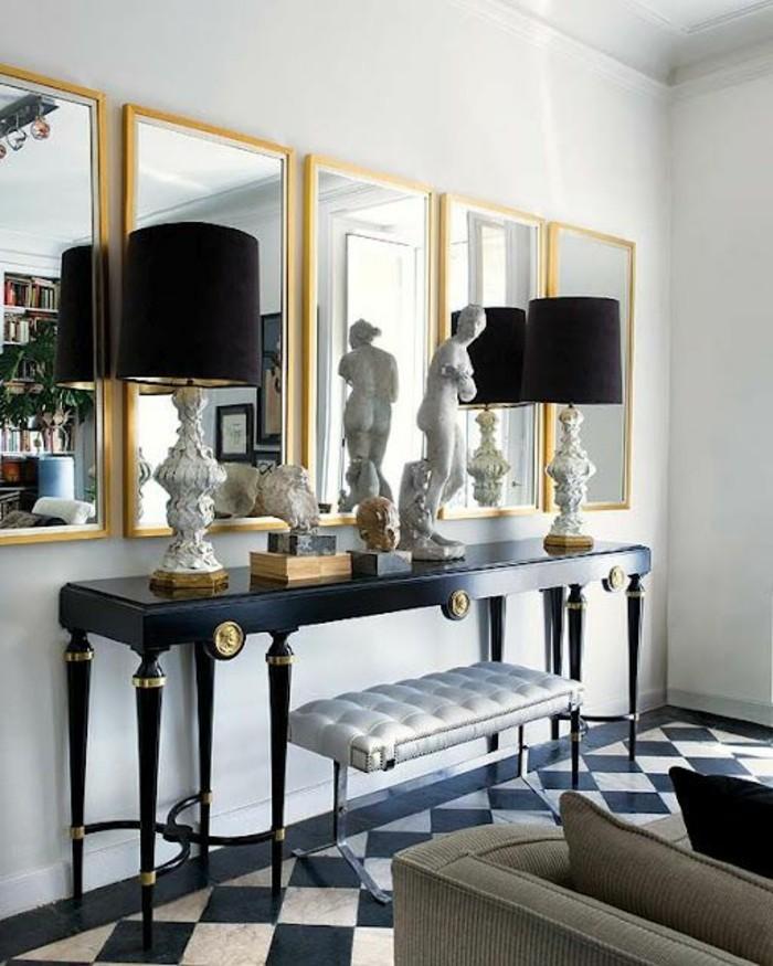miroir-grand-format-lampes-deux-toilette-quatre-statue