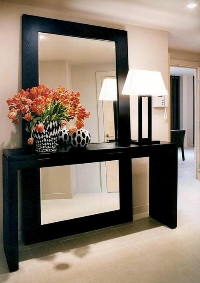 miroir-grand-format-orange-fleur-lampe-cadre-en-bois-marron