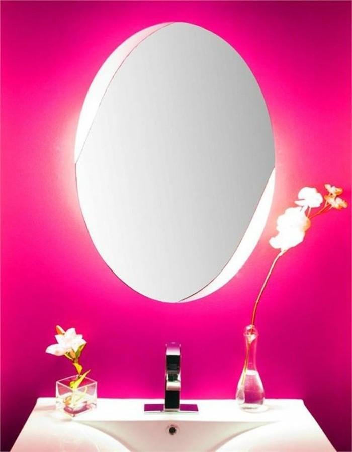 miroir-grand-format-rose-fleur-moderne-chic-rond