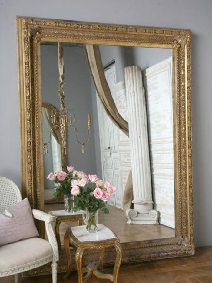 miroir-grand-format-table-fleur-rose-bois