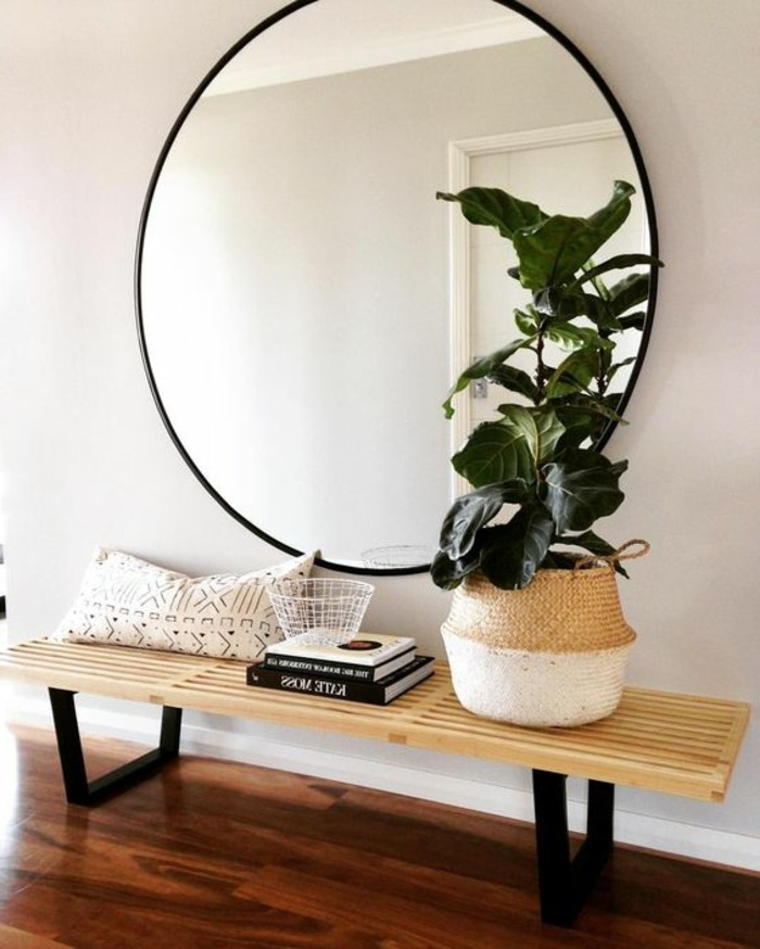 miroir-grand-format-vert-fleur-moderne-rond-banc-bois