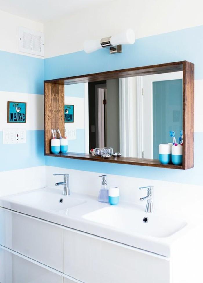 Le miroir salle de bain l ment cl de la d coration for Miroir cadre bois salle de bain
