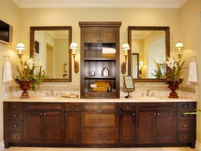 Le miroir salle de bain l ment cl de la d coration - Miroir en bois salle de bain ...