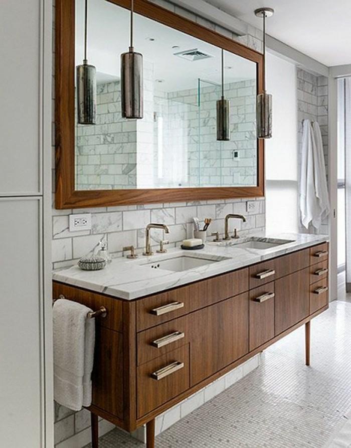 Armoire avec miroir en bois rangement salle de bain for Armoire de salle de bain en bois