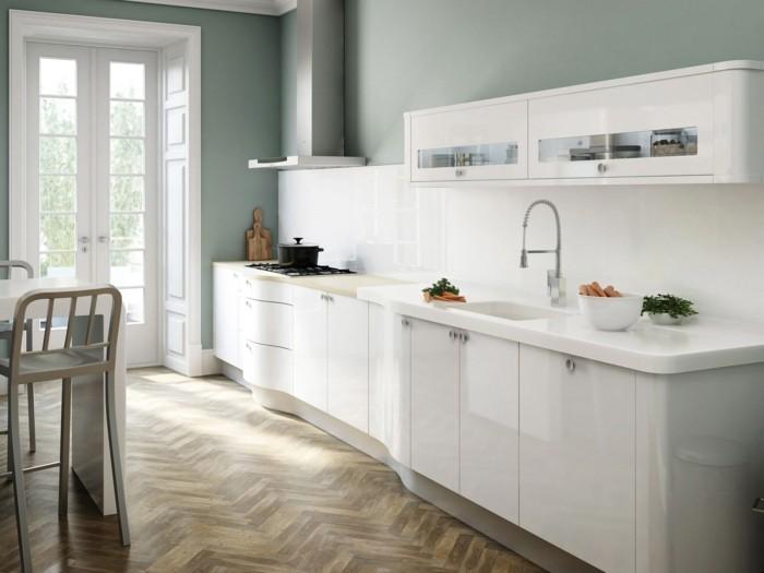 modele-cuisine-moderne-exemple-peinture-cuisine-vert-pastel-meubles-cuisine-blancs-très-stylés