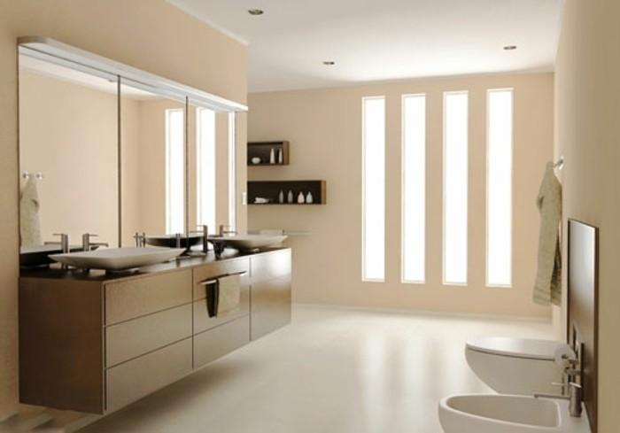 modele-salle-de-bain-moderne-couleur-salle-de-bain-beige-double-vasque-à-poser-meuble-sous-vasque-en-bois-décor-aux-lignes-épurées