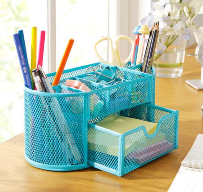 organisateur-de-bureau-bleu-pot-crayons