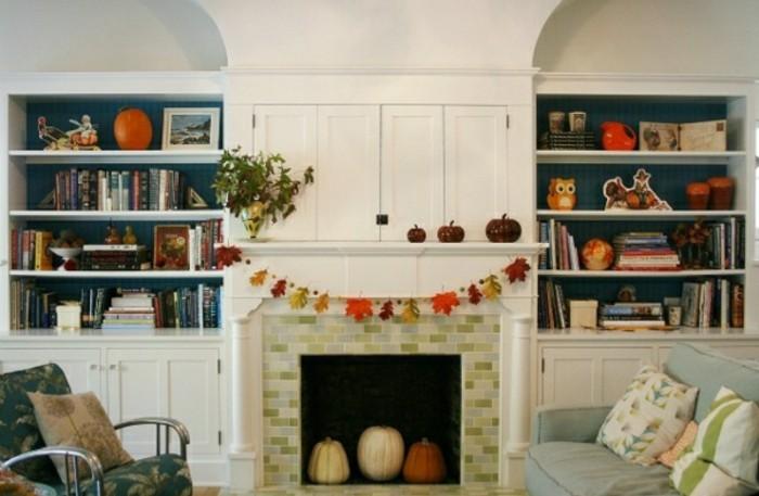 originale-idee-bricolage-halloween-primaire-gruirlande-feuilles-colores-chemin-d-interieur