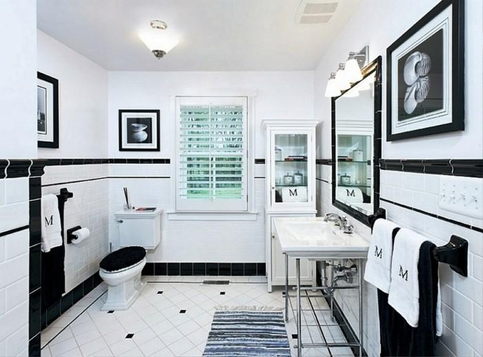 peinture-salle-de-bain-blanche-décor-en-noir-et-blanc-au-goût-vintage-ambiance-élégante