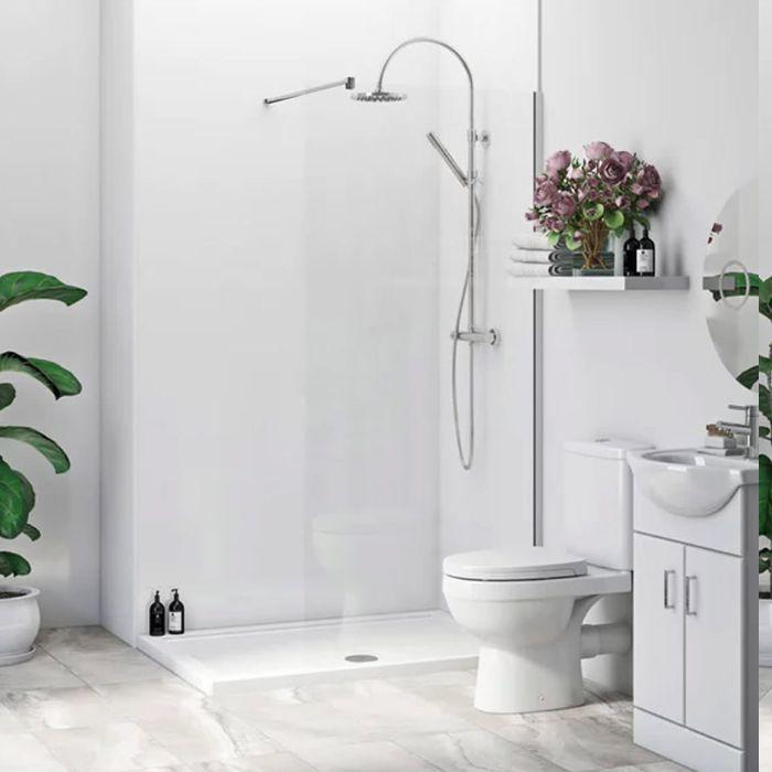 exemple de salle de bain blanche avec mobilier salle de bain blanc et des plantes salle de bain