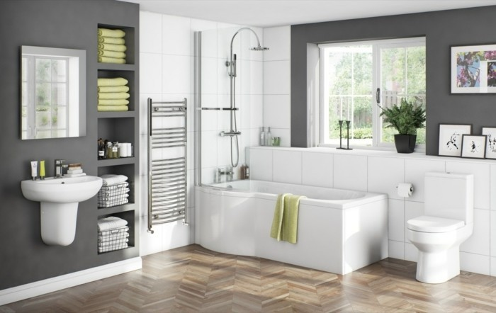 Peinture salle de bain 80 photos qui vont vous faire craquer for Peinture acrylique salle de bain