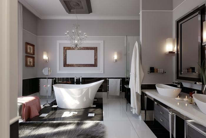peinture-salle-de-bain-couleur-taupe-modele-salle-de-bain-luxe-baignoire-à-poser-blanche-double-vasque-à-poser-gros-miroir