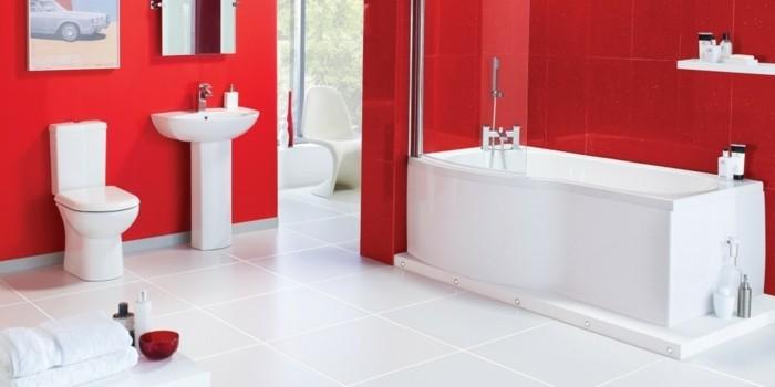 Peinture salle de bain 80 photos qui vont vous faire craquer - Salle de bain en rouge ...