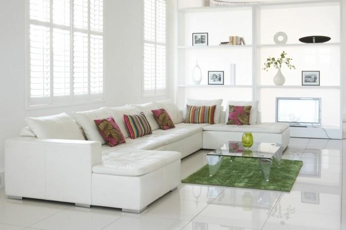 couleur-peinture-salon-quelle-peinture-choisir-pour-le-salon-formidable-idee-peinture-blanche-canape-blanc-tapis-vert-et-coussins-multicolores