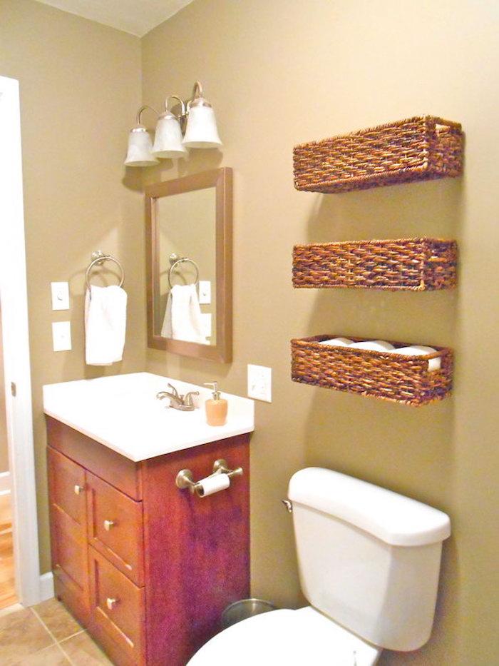 Etagere en osier pour salle de bain salle de bains - Etagere mural salle de bain ...