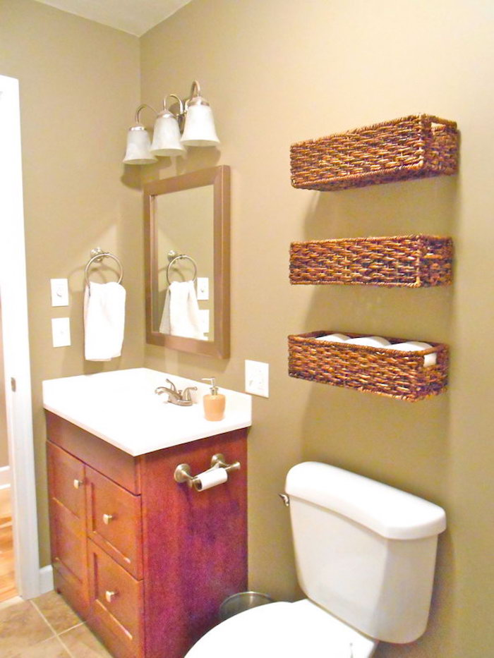 Etagere en osier pour salle de bain salle de bains - Meuble etagere wc ...