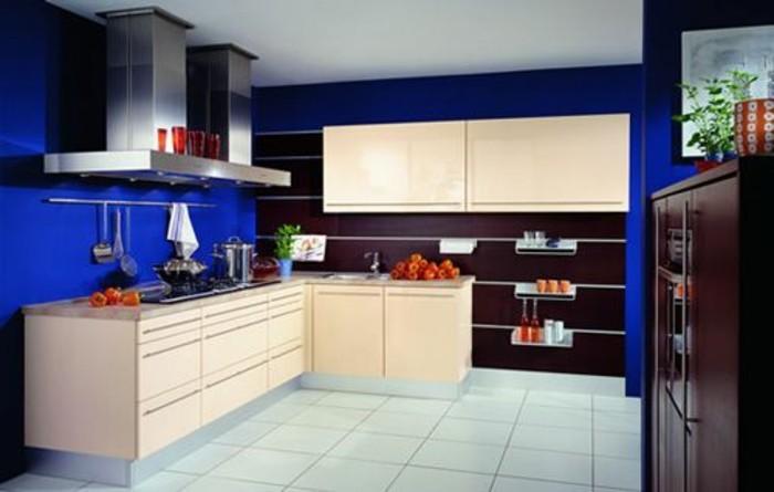 repeindre-sa-cuisine-en-bleu-foncé-meubles-cuisine-en-bois-cuisine-moderne
