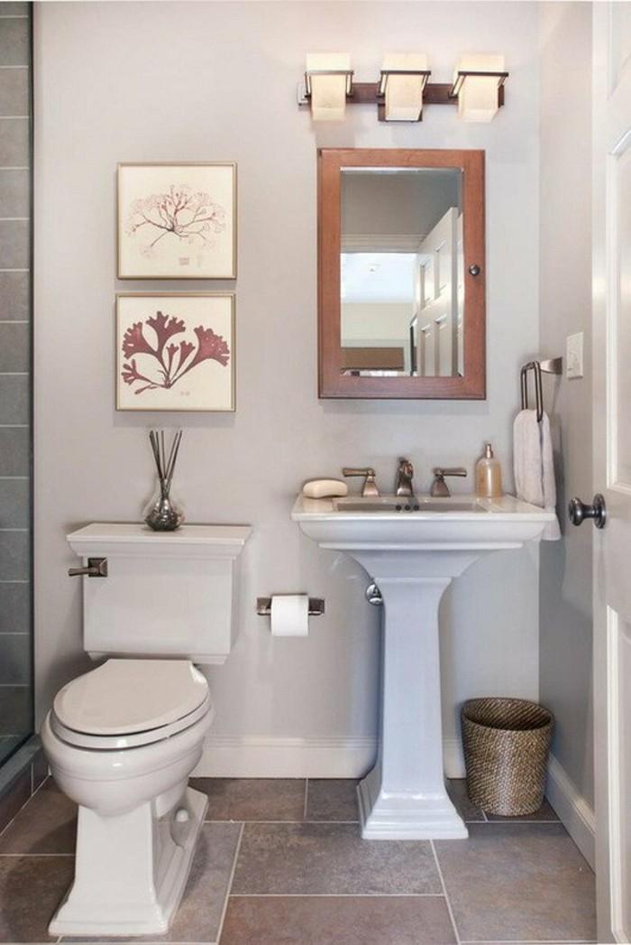 salle-de-bain-en-beige-carrelage-marron-murs-en-gris-pale-comment-amenager-la-salle-de-bain