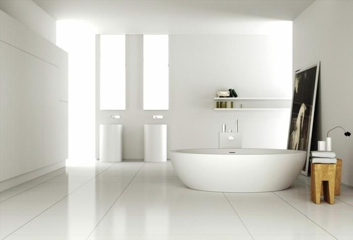 suggestion-couleur-salle-de-bain-blanche-baignoire-blanche-à-poser-lignes-épurées