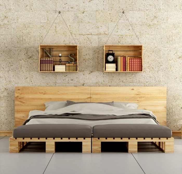 comment faire un lit en palette 52 id es ne pas manquer. Black Bedroom Furniture Sets. Home Design Ideas