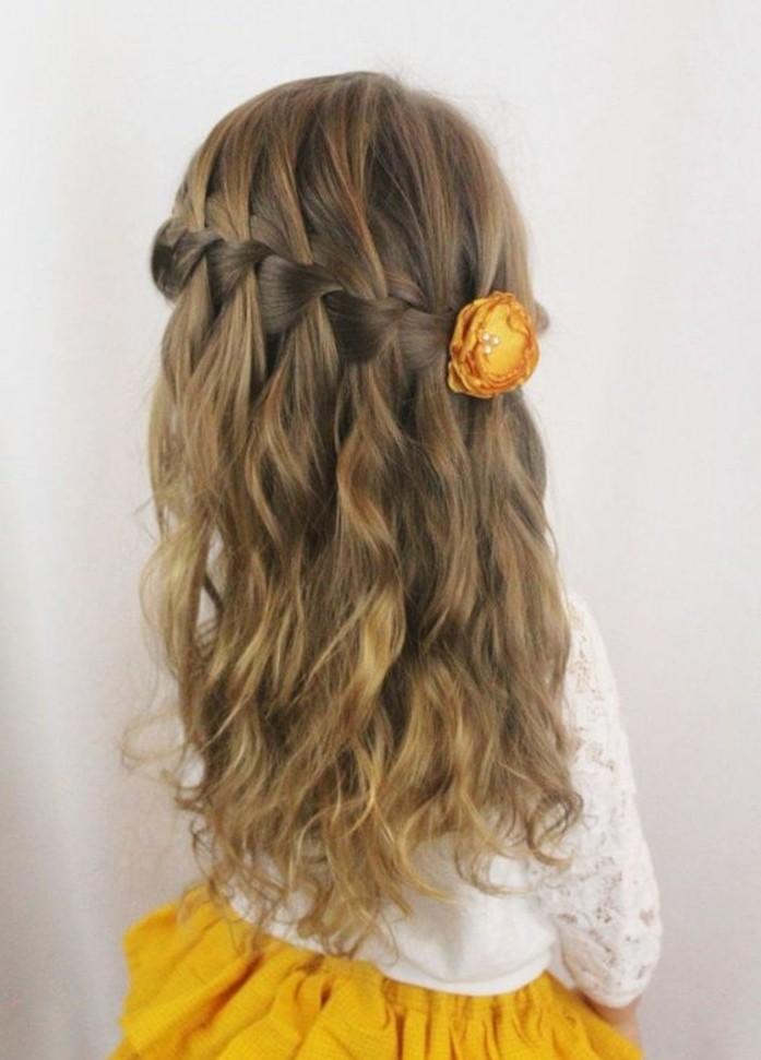 tresse-en-cascade-et-cheveux-legerement-ondules-coiffure-petite-fille-mariage-coiffure-bapteme