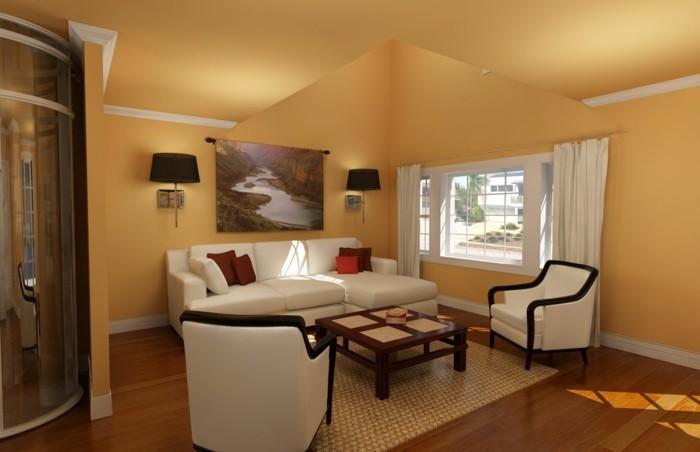 un-peitit-coin-de-detente-couleur-peinture-salon-jaune-très-chalereux-meubles-blancs-table-basse