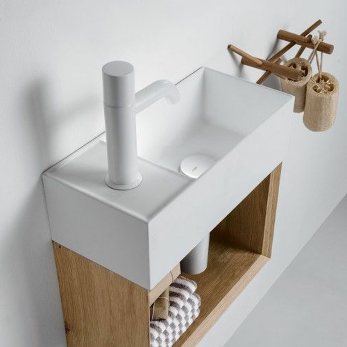 la vasque poser rectangulaire en 67 photos inspirantes - Meuble Sous Vasque A Poser