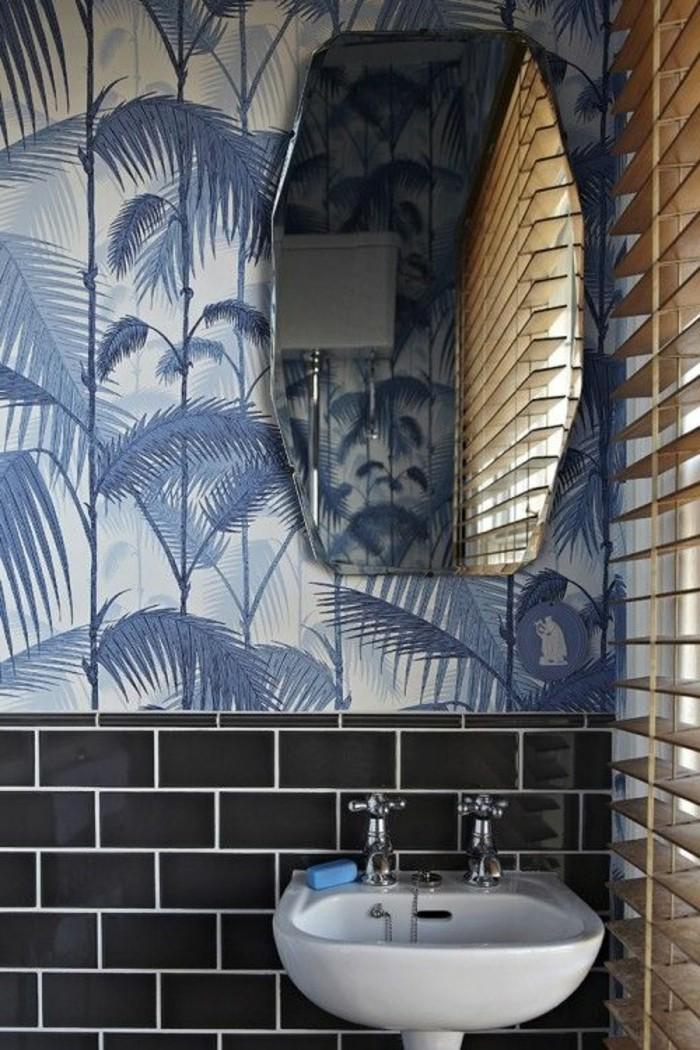 Vasque Salle De Bain Bleu Miroir Carreau