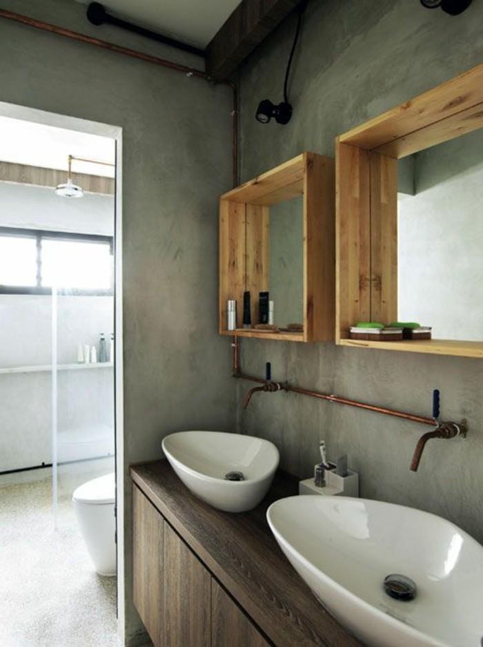 Fenetre Salle De Bain Bois : vasque salle de bain avec deux siphons en marbre blancs miroir en bois
