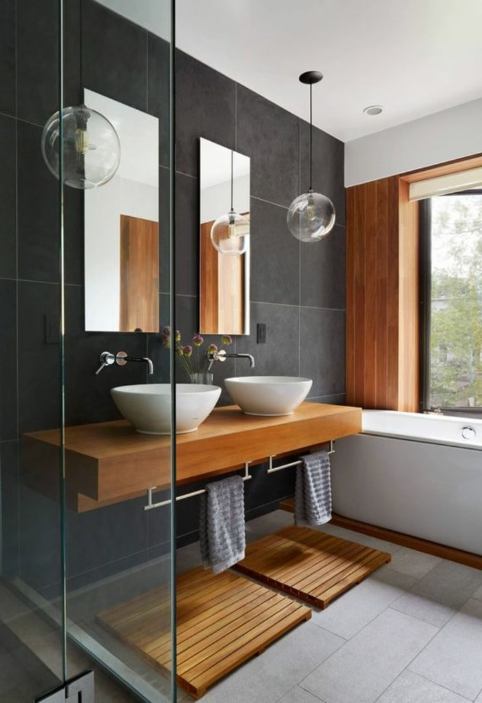 Fenetre Salle De Bain Bois : vasque salle de bain au style simple avec murs en gris