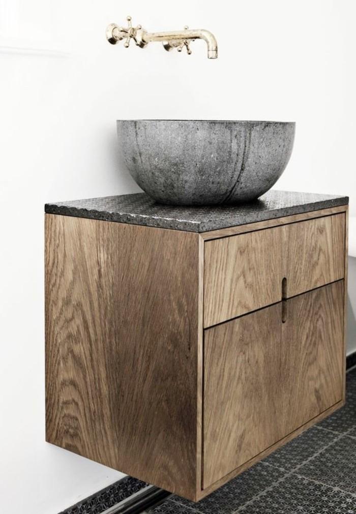 Vasque rectangulaire pierre salle de bain salle de bains - Salle de bain bois pierre ...